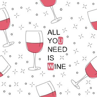 ワイングラスとシームレスなパターンをベクトルします。手描きの落書きスタイル。必要なのはワインプリントだけです