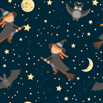 Vector seamless pattern with witch flying on the broom, moon, stars, owl, bat. digital paper with halloween characters. cute autumn all saints eve background for kids.