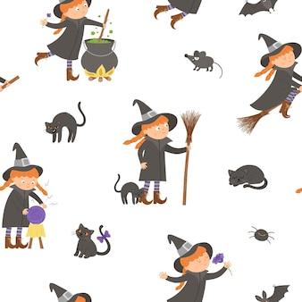 Бесшовный узор вектор с ведьмами. цифровая бумага с персонажами хэллоуина. симпатичный осенний фон кануна всех святых с девушкой на метле, с котлом, кошкой, волшебным шаром для детей.
