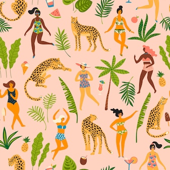 Vector seamless pattern with women and leopards.