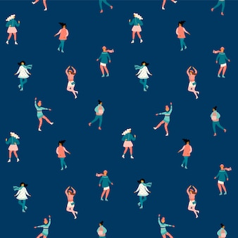 Vector seamless pattern with women skate.