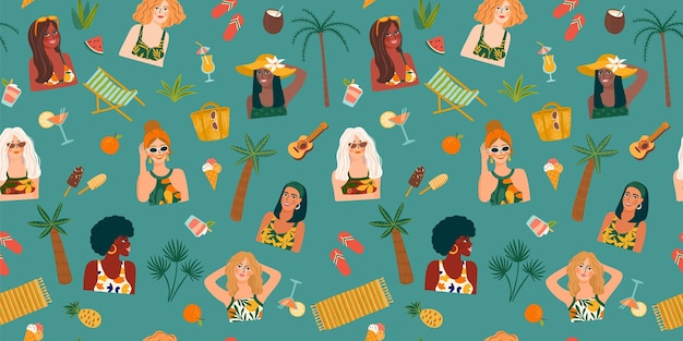 Vector seamless pattern with women in swimsuit on tropical beach.