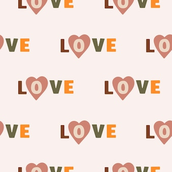 Vector seamless pattern with the word love and hearts on pastel background