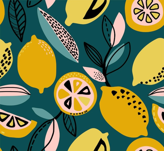 Vector seamless pattern with yellow lemons branches abstract textures fruit repeated background