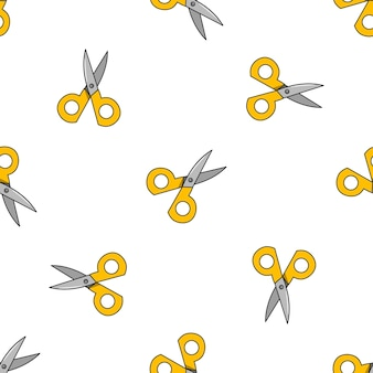 Vector seamless pattern with yellow scissors on a white background.