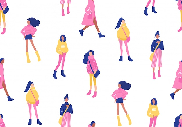 Vector seamless pattern with young women in modern style