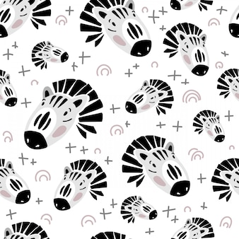 Vector seamless pattern with zebra face on white