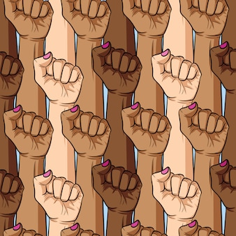 Vector seamless pattern of woman's fist different nationalities and skin color. girl's power
