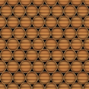 Vector seamless pattern of wooden barrels