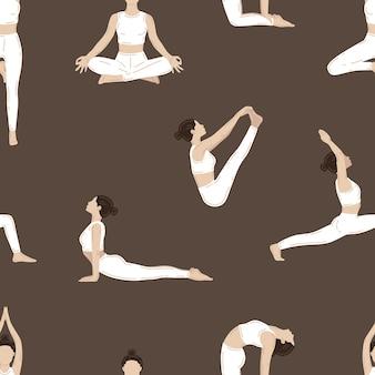 벡터 완벽 한 패턴입니다. 요가 운동을 하는 젊은 슬림 여성