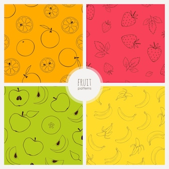 Vector seamless patterns with bananas oranges and apples fruit patterns set