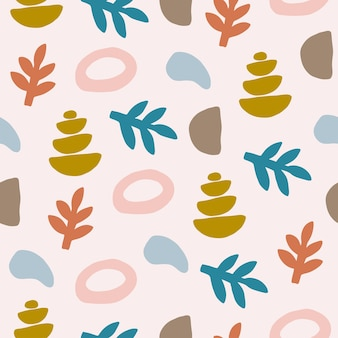 Vector seamless patterns with colorful abstract modern shape contemporary  flat illustration