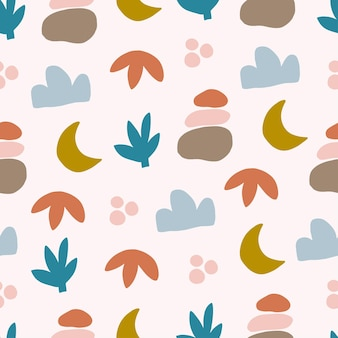 Vector seamless patterns with colorful abstract modern shape, leaves. hand drawn contemporary trendy flat illustration. geometric drawings on white background. for print, wall art, textile.