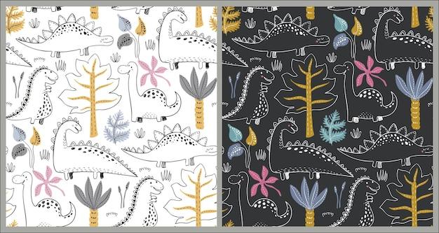 손으로 그린 공룡과 열대 잎과 꽃이 있는 벡터 매끄러운 패턴