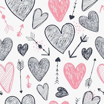 벡터 원활한 로맨틱 패턴입니다. 하트와 화살표는 배경을 사랑하고 손으로 그린 스타일을 낙서합니다. 포장, 장식 디자인에 사용합니다. 발렌타인 데이 프리미엄 벡터