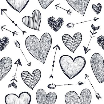 벡터 원활한 로맨틱 패턴입니다. 하트와 화살표는 배경을 사랑하고 손으로 그린 스타일을 낙서합니다. 포장, 장식 디자인에 사용합니다. 발렌타인 데이