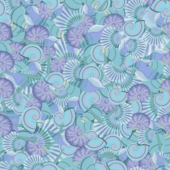 Vector seamless seashells pattern