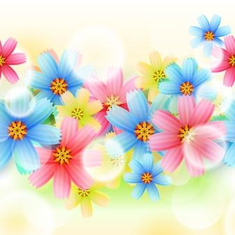 ベクトルのシームレスな春の花の背景