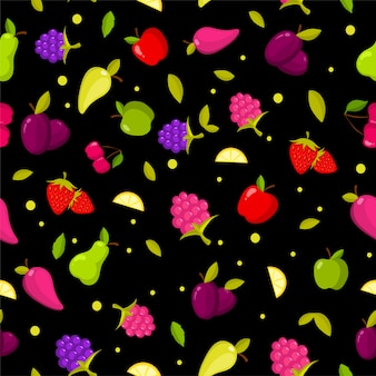 Vector seamless summer fruits pattern. colorful cartoon background