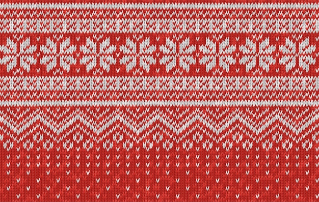 Vector seamless texture of red wool knit. knitted christmas and new year pattern with snowflakes. template of knitwear for background, wallpaper, backdrop. scandinavian, norwegian style.