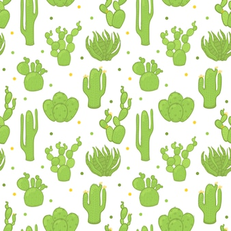 Vector seamless trendy pattern with cactuses.