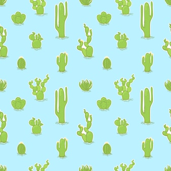 Vector seamless trendy pattern with different cactuses.