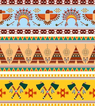 Vector seamless tribal ethnic vintage