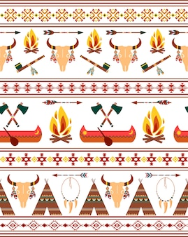 Vector seamless tribal native american indian borders for clothing design