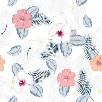 Vector seamless  tropical hibiscus pattern