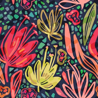 Vector seamless tropical pattern with bright minimalistic flowers on dark background.