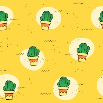 Vector seamless tropical pattern with cactus in flower pots