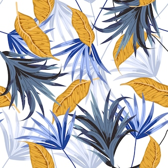 Vector seamless tropical pattern with exotic forest