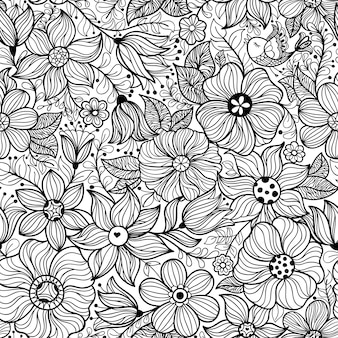 Vector seamless vintage pattern with flower.