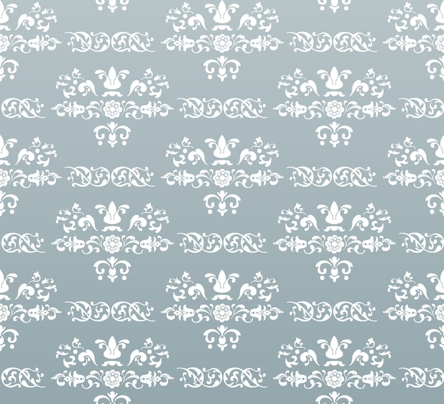 Vector seamless vintage royal background. white on turquoise
