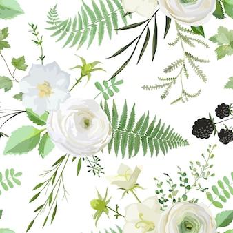 흰색 꽃, 딸기, 녹색 잎의 부케와 벡터 원활한 수채화 패턴입니다. 결혼식, 카드, 배너, 포스터에 대한 식물 요소의 여름과 봄 소박한 식물 수집 배경