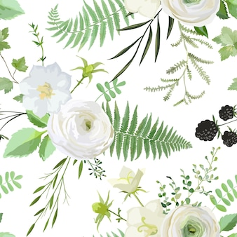 Vector seamless watercolor pattern with bouquets of white flowers, berries, green leaves. summer and spring rustic plant collection background of botanical elements for wedding, cards, banners, poster