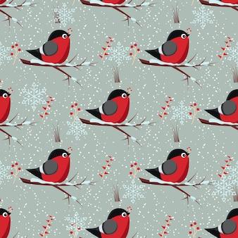 새 멋쟁이 새가 있는 벡터 매끄러운 겨울 패턴은 붉은 로완베리 무리가 있는 로완 나무 가지에 앉아 있습니다.
