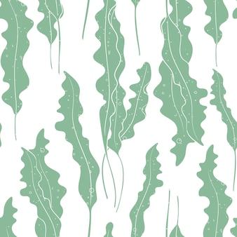 海藻テクスチャのシームレスなパターンのベクトルの背景。