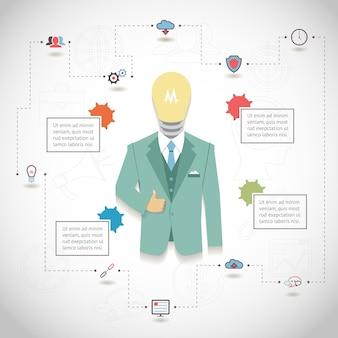 Вектор seo инфографики с человеком в костюме с головой лампочки и текстовыми блоками