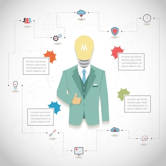 Vector seo infographic with man in suit with light bulb head and text blocks