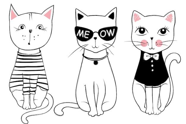 かわいいファッション猫とのベクトルシリーズ。スタイリッシュな子猫セット。スケッチ風tシャツプリント、カード、ポスターのトレンディなイラスト。落書きキティ。子供の動物。面白いキャラクター。