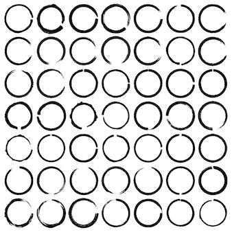 Vector set of 49 grunge circle brush. round doodle loops, circular sketch highlights.