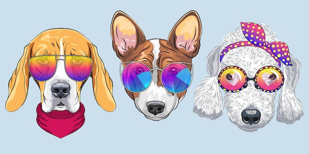 Векторный набор 6 мультипликационных собак