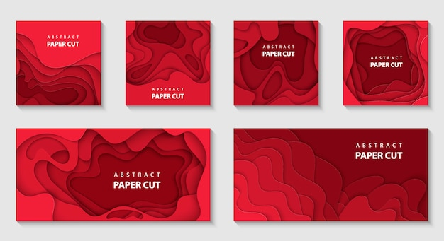 Vector set of 6 red backgrounds with paper cut