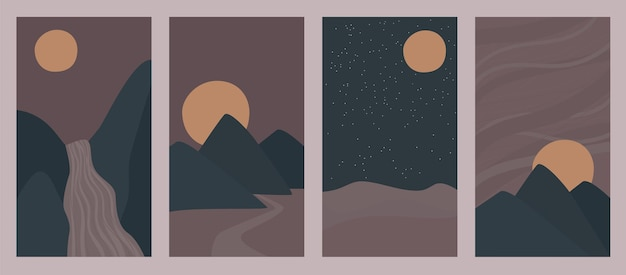 Vector set of abstract backgrounds vertical night landscapes with mountains and hills boho style