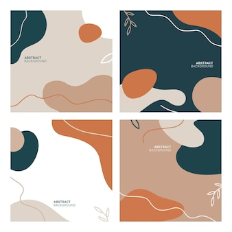 Vector set of abstract creative backgrounds in minimal trendy style