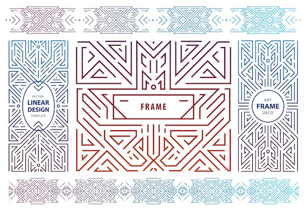 Vector set of abstract geometric design elements, luxury vintage artdeco decorations, covers, frames. linear style monogram geometric banners, luxury packaging design