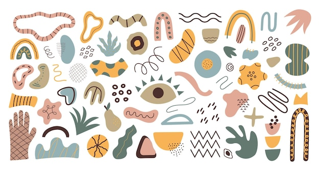 Vector set of abstract geometric shapes trendy organic and minimalistic design