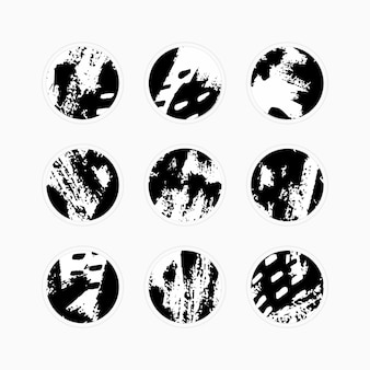 Vector set of abstract highlight covers backgrounds. design templates icons for social media stories. round emblems of black and white brush stroke . use as a different blogger and personal use