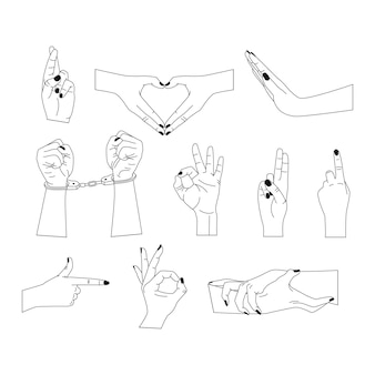 Vector set of abstract logo design templates in simple linear style  hands in different gestures